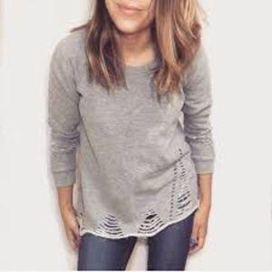 Anthropologie | Pepin | Gray Distressed Sweatshirt